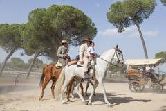 Pèlerins à cheval en EL Rocio, Espagne Photos libres de droits