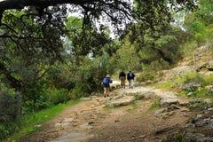 Pèlerins dans le Camino Mozarabic De Santiago, Cerro Muriano, province de Cordoue, Andalousie, Espagne image libre de droits