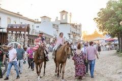 Pèlerins en EL Rocio, Andalousie, Espagne Images libres de droits