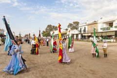 Pèlerins en EL Rocio, Andalousie, Espagne Photographie stock libre de droits