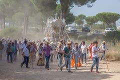 Pèlerins sur la route à l'EL Rocio, Espagne Image stock