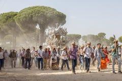 Pèlerins sur la route à l'EL Rocio, Espagne Photo stock