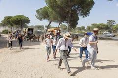 Pèlerins sur la route à l'EL Rocio, Espagne Photo libre de droits