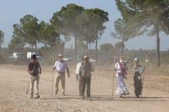 Pèlerins sur la route à l'EL Rocio, Espagne Photographie stock libre de droits