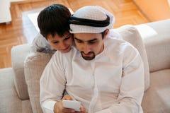 Père Arabe And Son Photos libres de droits