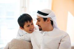 Père Arabe And Son Photographie stock libre de droits