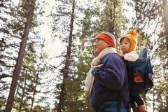 Père avec la fille d'enfant en bas âge sur la promenade dans la fin de forêt  Photos stock