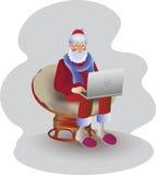 Père Christmas avec un ordinateur portable Image de vecteur illustration de vecteur