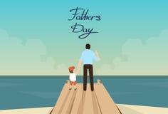 Père Day Holiday Standing d'homme et de fils sur le dock en bois illustration libre de droits