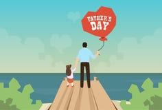 Père Day Holiday Standing de ballon de prise d'homme et de fille sur le dock en bois illustration libre de droits