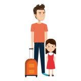 Père de bande dessinée avec la serviette de voyage et la fille de daugther illustration libre de droits