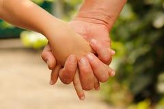 Père de famille et nature de mains de fils d'enfant Images libres de droits