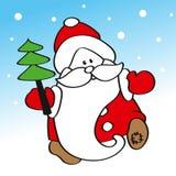 Père drôle Frost portant un arbre de Noël Image stock