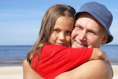 Père et descendant gais Image stock