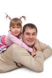 Père et descendant joyeux Images stock