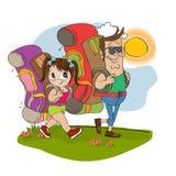 Père et descendant se déplaçant avec le backpac illustration libre de droits