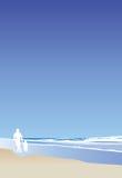 Père et enfant sur la verticale de plage Photo stock