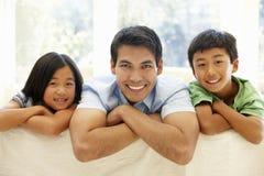 Père et enfants asiatiques Images libres de droits