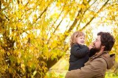 Père et fille marchant ensemble, jour d'automne Photo libre de droits