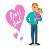 Père et fille Père tenant son bébé, le jour de père Images libres de droits
