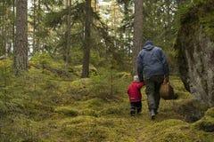 Père et fille recherchant des champignons Photo stock