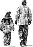 Père et fils à la promenade illustration stock