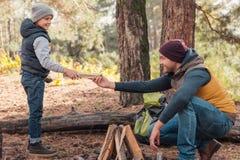 père et fils de sourire rassemblant le bois de chauffage pour allumer le feu photographie stock libre de droits