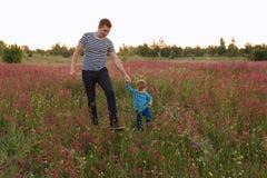 Père et fils trimardant ensemble dans le domaine de fleur sur le coucher du soleil Image libre de droits