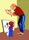 Père et le petit artiste. Image libre de droits