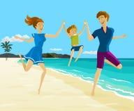 Père et mère tenant la main du ` s de fils sur la plage illustration libre de droits