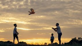 Père heureux et enfants de famille courant dans le pré avec un cerf-volant en été au coucher du soleil banque de vidéos