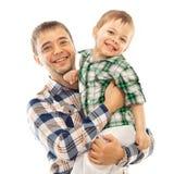 Père joyeux avec le fils Photographie stock libre de droits