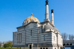 Père Lachaise Cemetery. Paris, France - March 23, 2015: The crematorium at Père Lachaise Cemetery, the largest cemetery in the city of Paris on a sunny stock photos