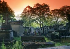 Dawn at the Père-Lachaise cemetery in Paris royalty free stock image