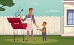 Père Son Cartoon Poster de barbecue de pique-nique Images libres de droits