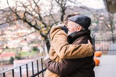 Père supérieur et son jeune fils sur une promenade photo libre de droits