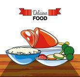 Pé da carne com arroz e vegetais ilustração royalty free