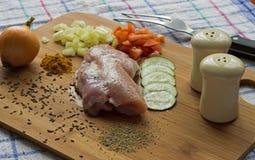 Pé de galinha sem ossos com abobrinha Imagem de Stock Royalty Free