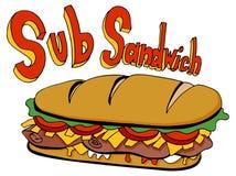 Pé de tiragem do sanduíche do sub do corte frio por muito tempo Fotos de Stock