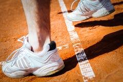 Pé do jogador de tênis Fotografia de Stock Royalty Free
