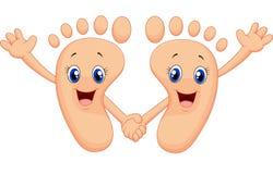Pé feliz dos desenhos animados que guarda as mãos Imagem de Stock Royalty Free