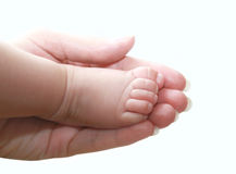 Pé pequeno do bebê na mão da matriz Imagens de Stock Royalty Free