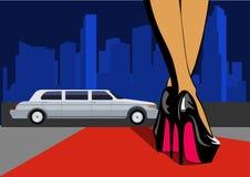 Pé 'sexy' com cidade Os pés fêmeas nos saltos altos andam no tapete vermelho Ilustração do vetor ilustração do vetor