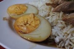 Pé Stewed da carne de porco no arroz Fotos de Stock