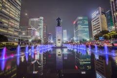 Péché du soleil d'amiral Yi de statue à la place de Gwanghwamun à Séoul, Corée du Sud Photos stock