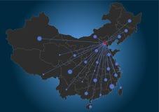 Pékin a centré la carte de la Chine Image stock