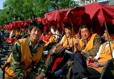 Pékin, Chine : Gestionnaires de Hutong Pedicab Image stock
