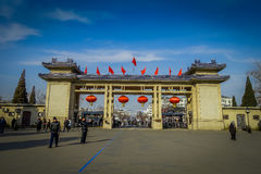PÉKIN, CHINE - 29 JANVIER 2017 : Ravissez la porte au compund du temple du Ciel, un complexe impérial avec divers religieux Photos stock