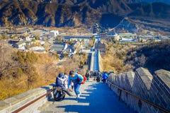 PÉKIN, CHINE - 29 JANVIER 2017 : Vue fantastique de Grande Muraille impressionnante un beau jour ensoleillé, située à Juyong Images libres de droits
