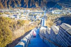PÉKIN, CHINE - 29 JANVIER 2017 : Vue fantastique de Grande Muraille impressionnante un beau jour ensoleillé, située à Juyong Photos libres de droits
